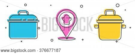 Set Cooking Pot, Chef Hat With Location And Cooking Pot Icon. Vector