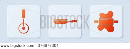 Set Frying Pan, Pizza Knife And Rolling Pin On Dough. White Square Button. Vector