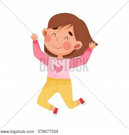 Girl Character With Dark Hair Jumping High With Joy And Excitement Vector Illustration