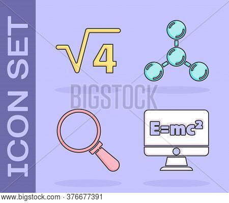 Set Equation Solution, Square Root Of 4 Glyph, Magnifying Glass And Molecule Icon. Vector