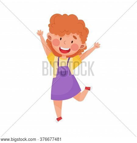 Happy Girl Character With Red Hair Jumping High With Joy And Excitement Vector Illustration
