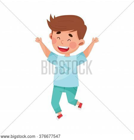 Happy Boy Character Jumping High With Joy And Excitement Vector Illustration