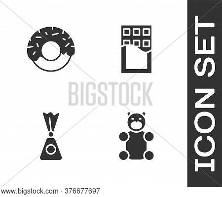 Set Jelly Bear Candy, Donut, Candy And Chocolate Bar Icon. Vector