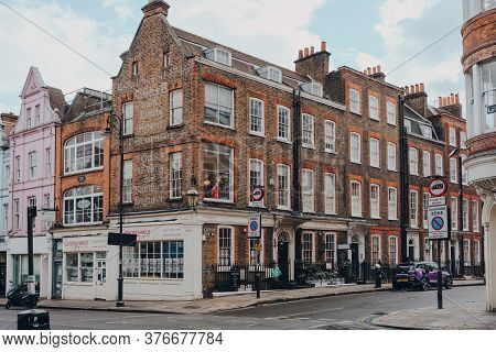 London, Uk - July 02, 2020: Old Building With Historic Writing On The Corner Of Heath Street And Chu