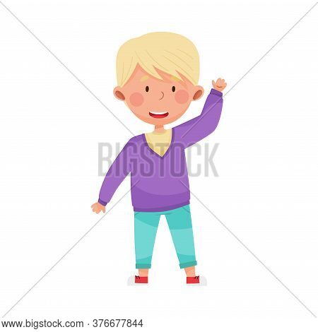 Cheerful Boy Character In Jeans Greeting Waving Hand And Saying Hi Vector Illustration
