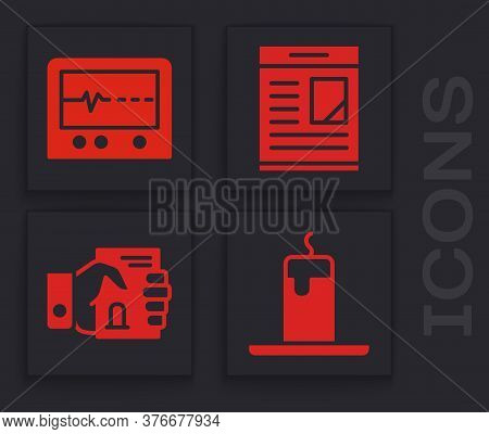 Set Burning Candle, Beat Dead In Monitor, Obituaries And Death Certificate In Hand Icon. Vector