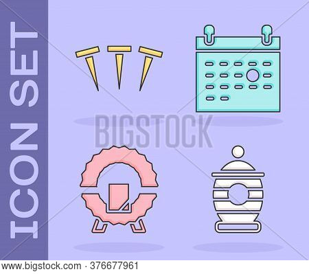 Set Funeral Urn, Metallic Nails, Memorial Wreath And Calendar Death Icon. Vector