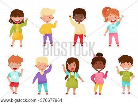 Smiling Boy And Girl Characters Greeting Waving Hand And Saying Hi Vector Illustration Set