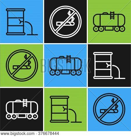 Set Line Barrel Oil Leak, Oil Railway Cistern And No Smoking Icon. Vector