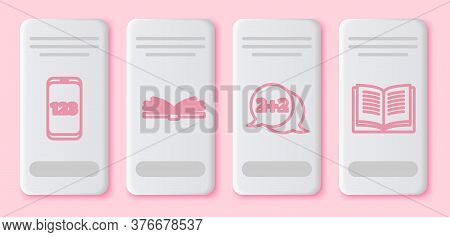 Set Line Book With Word Mathematics, Mobile Calculator Interface, Geometric Figure Cone And Equation