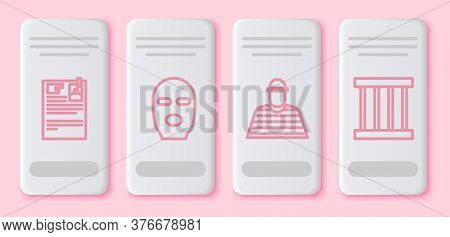 Set Line Lawsuit Paper, Thief Mask, Prisoner And Prison Window. White Rectangle Button. Vector