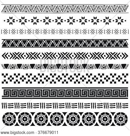 Aztec Borders Set. Ethnic Ornament, Decoration Patterns In Arabic, Egyptian Or Native American Triba