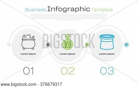 Set Line Witch Cauldron, Unicycle Or One Wheel Bicycle And Magician Hat. Business Infographic Templa