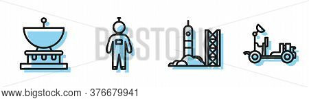 Set Line Rocket Launch From The Spaceport, Planet Saturn, Astronaut And Mars Rover Icon. Vector