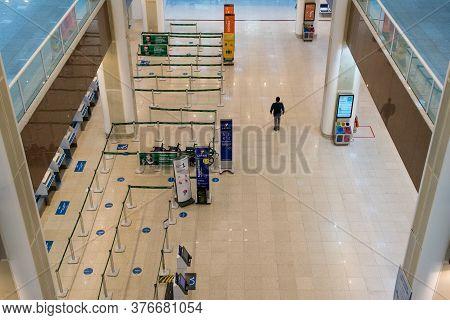 Rio De Janeiro, Brazil - July 16, 2020: Empty Check In Counter In Santos Dumont Airport In Rio De Ja