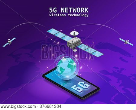 Global 5g Internet Network Satellite Communication. Satellites Flying Orbital Upon Earth Wireless Te