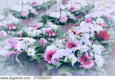 School Is Coming Soon. Delivery Of Bouquets White And Pink Flowers In Green Leaves Tinted Selective