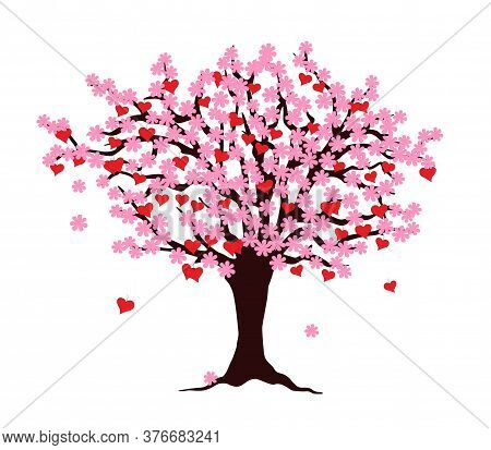 Cartoon Tree Of Love With Red Hearts And  Pink Blossom Isolated On The White Background. Vector Illu