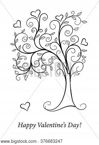 Vector Monochrome Illustration Concept For Valentine Day Greeting Card, Decoration Romantic Holidays