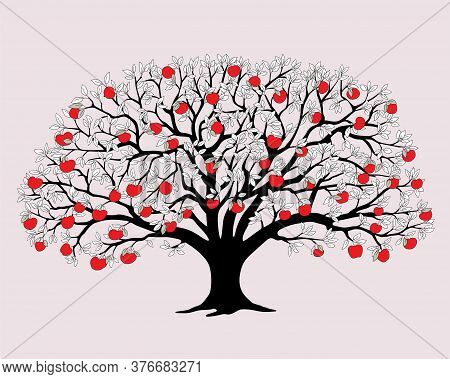 Black Silhouette Apple Tree With Red Apples And  Leaves Isolated On The Pink Background.  Cartoon Il