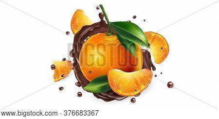 Fresh Mandarins And Splashes Of Liquid Chocolate.