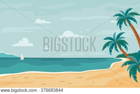 Vector Beach Background. Tropical Seashore With Palm Trees And Yacht. Horizontal Background. Summer