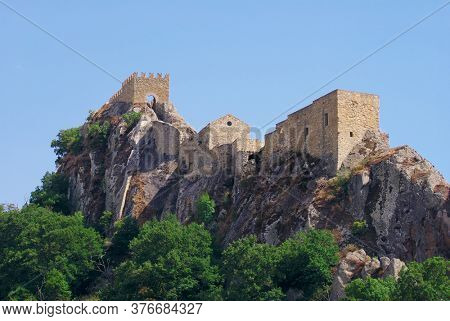 Sperlinga rock stone castle in Sicily is historical landmark of medieval age