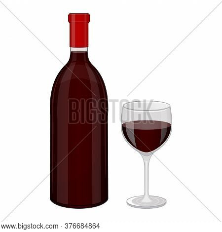 Bottle Of Red Wine And Glass. Object On A White Background. Isolated Object On A White Background. C