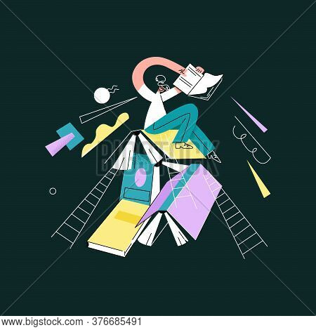 Vector Flat Abstract Young Woman Sitting On Mountain Of Enlarged Books. She Is Holding Book In Her H