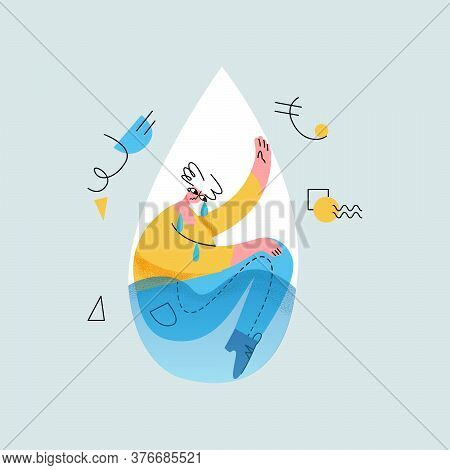 Vector Flat Illustration With Young Man Who Is Crying, Sad. It Is Located In Abstract Drop Of Water.