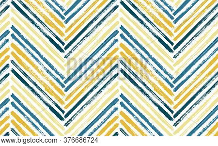 Hipster Chevron Interior Print Vector Seamless Pattern. Ink Brushstrokes Geometric Stripes. Hand Dra