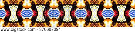 Spring Floral Border. Folk Embroidery. Ikat Rhombus Print. Summer Seamless  Majolica Tiles Print. El
