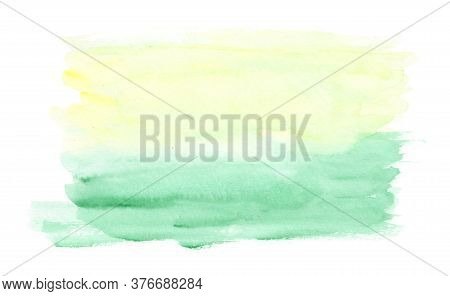 Light Horizontal Green And Yellow Watercolor Landscape Background, Wash Technique. Abstract Bright S