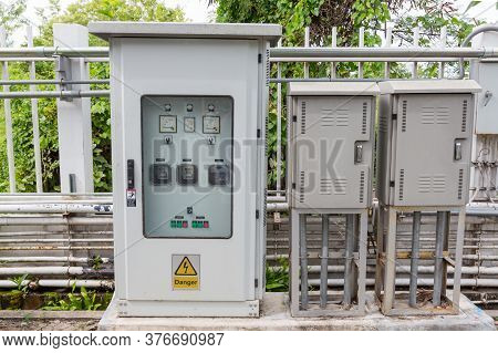 Outdoor Electric Control Box. Circuit Controller Box. Electric Control Box With Push Buttons And Swi
