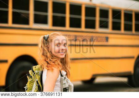 School Teen. Teenager Girl School Concept. Teen Scholars At School Bus