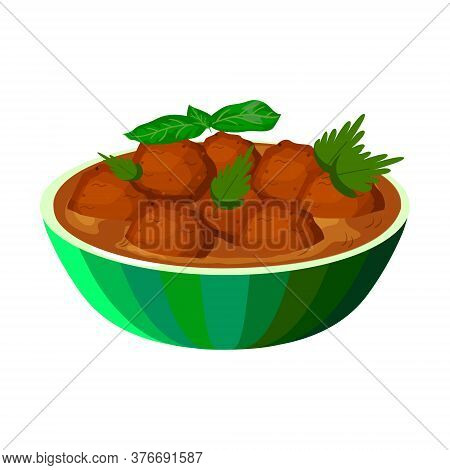 Malai Kofta In Plate. Indian Traditional Food. Vector Flat Illustration. Isolated On White Backgroun
