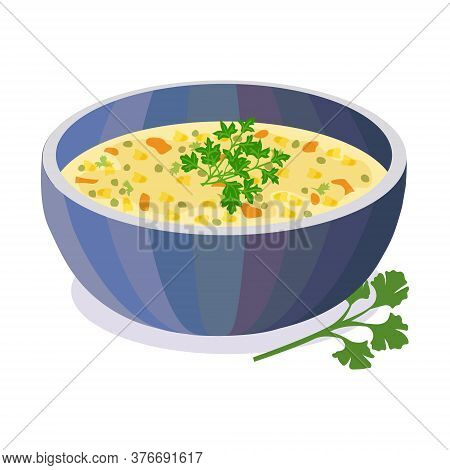 Bean Soup Dal In Bowl. Indian Traditional Food. Vector Flat Illustration. Isolated On White Backgrou