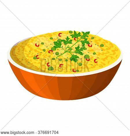 Biryani In Bowl. Indian Traditional Food. Vector Flat Illustration. Isolated On White Background. Fo