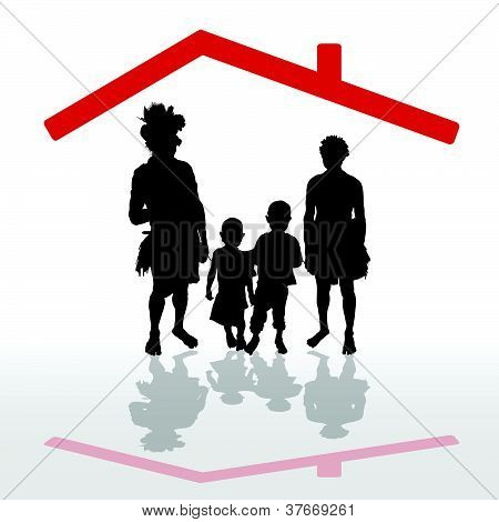 Tribe Under His House Vector Illustration