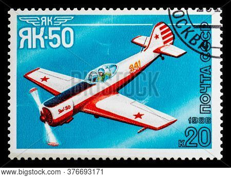 Russia, Ussr - Circa 1986: A Postage Stamp From Ussr Showing Aircraft Yakovlev Yak-50
