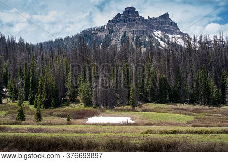 The Pinnacle Buttes Northeast Of Jackson Hole Near Dubois Wyoming, At Brooks Lake In The Shoshone Na