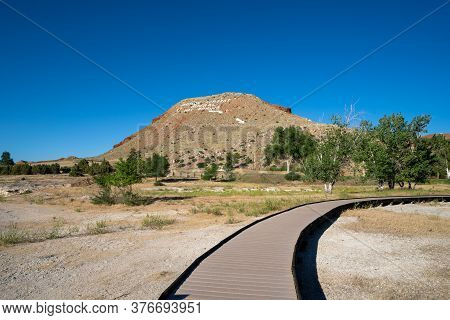 Boardwalk Over The Hot Springs Mineral Terraces Of Hot Springs State Park In Thermopolis, Wyoming