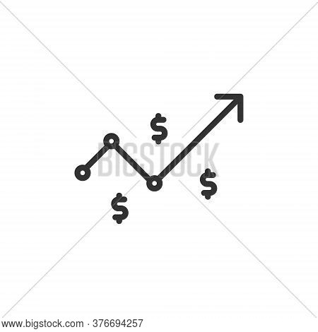 Dollar Rate Increase Icon. Money Symbol With Stretching Arrow Up. Rising Prices. Business Cost Sale