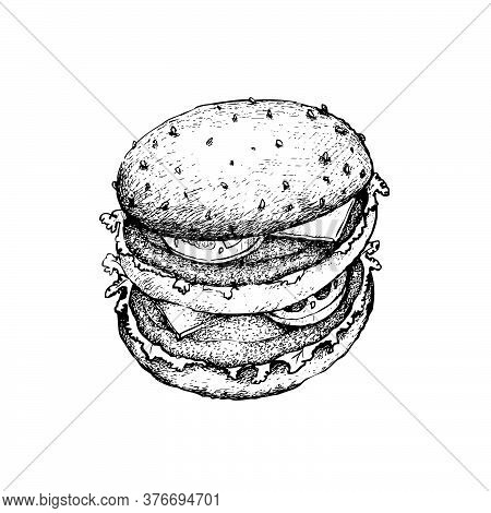 Illustration Hand Drawn Sketch Of Delicious Beef Burgery With Lettuce, Tomato, Onions And Cheese On