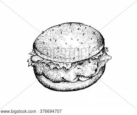 Illustration Hand Drawn Sketch Of Delicious Fried Chicken Burger With Lettuce, Tomato, Onions And Ch