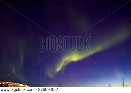 Beautiful Northern Lights (aurora Borealis) Captured Near Kiruna Iron Ore Mine, Sweden.