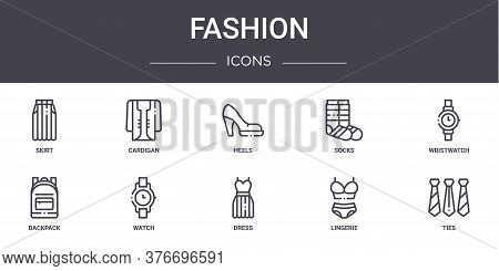 Fashion Concept Line Icons Set. Contains Icons Usable For Web, Logo, Ui Ux Such As Cardigan, Socks,