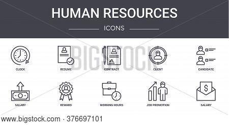 Human Resources Concept Line Icons Set. Contains Icons Usable For Web, Logo, Ui Ux Such As Resume, C