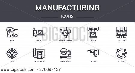 Manufacturing Concept Line Icons Set. Contains Icons Usable For Web, Logo, Ui Ux Such As Trolley, La