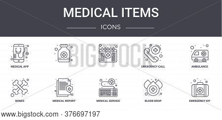 Medical Items Concept Line Icons Set. Contains Icons Usable For Web, Logo, Ui Ux Such As , Emergency